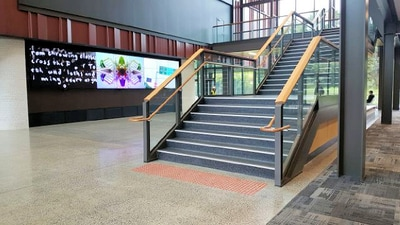 Freedom Strategies installed Stepmaster stair inserts SMI511 and Guidemaster Tactile indicators GMPS1002 at Auckland University of Technology (AUT) Building M1 South Campus Manukau